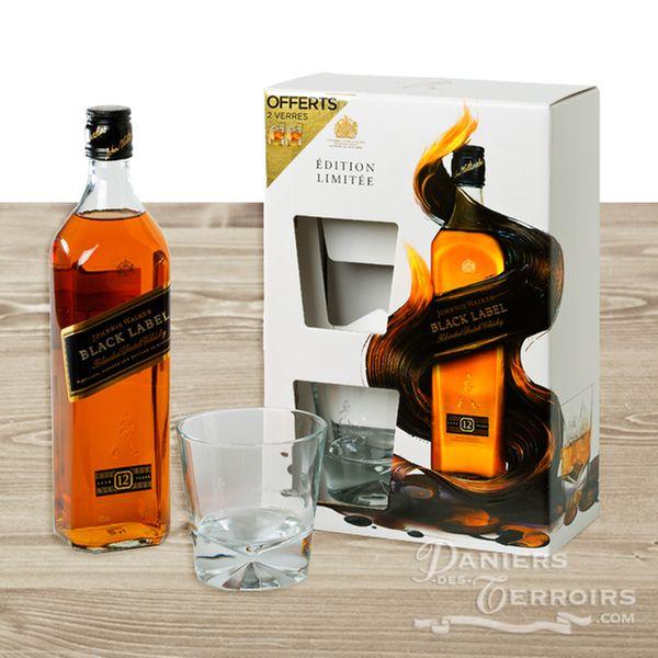 coffret whisky johnny walker black label 2 verres. Black Bedroom Furniture Sets. Home Design Ideas